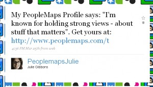 Twitter personality for @peoplemapsjulie